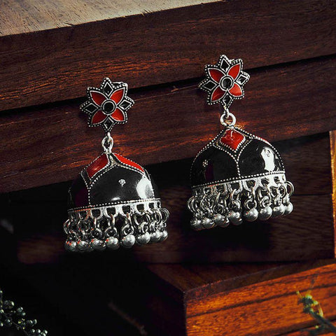 Image of Black and Red Meenakari Jhumki Earrings
