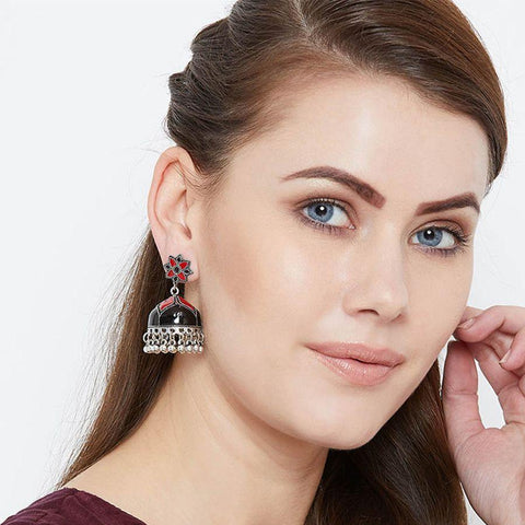 Black and Red Meenakari Jhumki Earrings