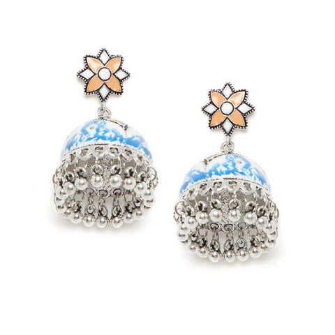 Image of Blue and Orange Meenakari Jhumki Earrings