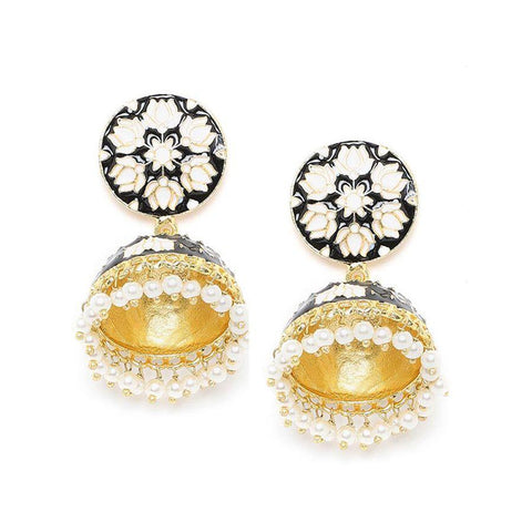 Image of Black and White Lotus Meenakari Jhumki Earrings