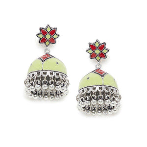 Sea Green and Red Meenakari Jhumki Earrings