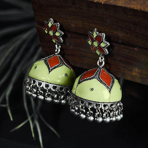 Image of Sea Green and Red Meenakari Jhumki Earrings