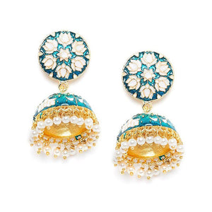 Turquoise and White Lotus Meenakari Jhumki Earring