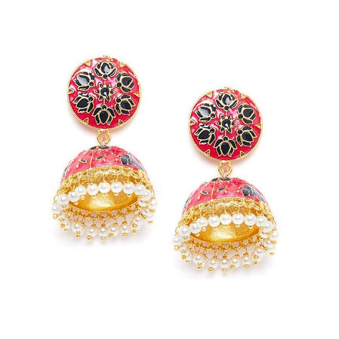 Pink and Black Lotus Meenakari Jhumki Earrings