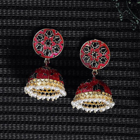 Image of Pink and Black Lotus Meenakari Jhumki Earrings