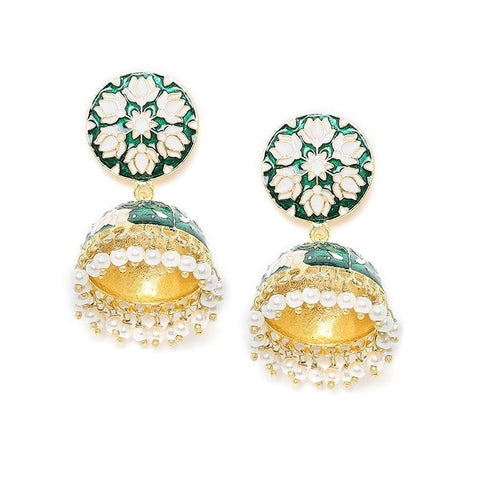 Green and White Lotus Meenakari Jhumki Earrings