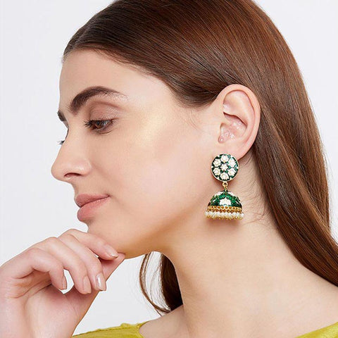 Image of Green and White Lotus Meenakari Jhumki Earrings