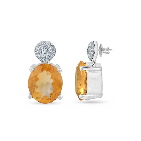 Image of Citrine and White Topaz Vintage Earrings