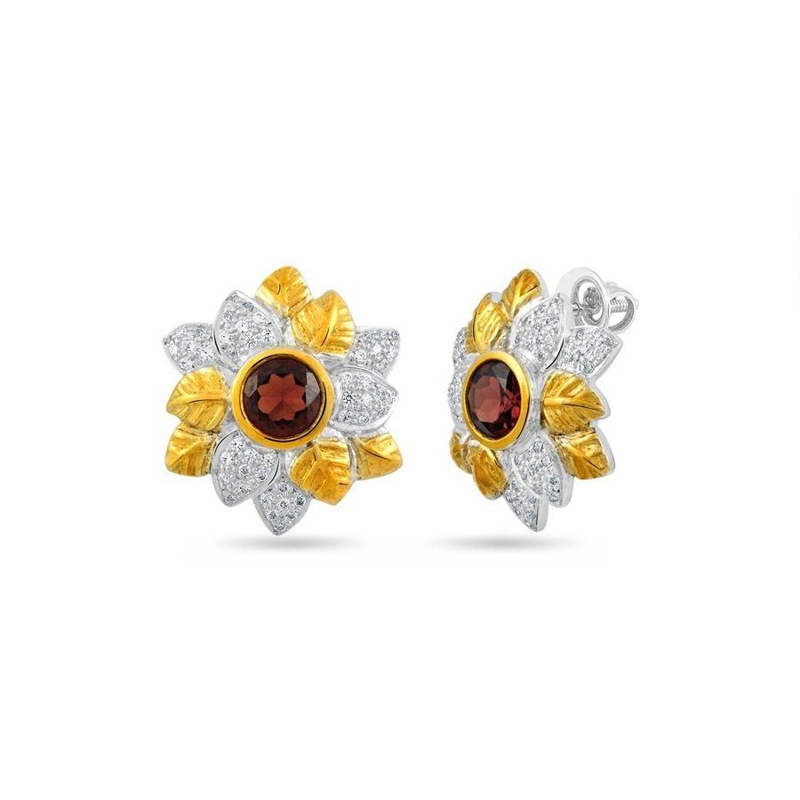 Studs Embellised With Garnet And White Topaz