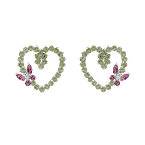 Image of Heart Shaped Two color Gemstone Earrings