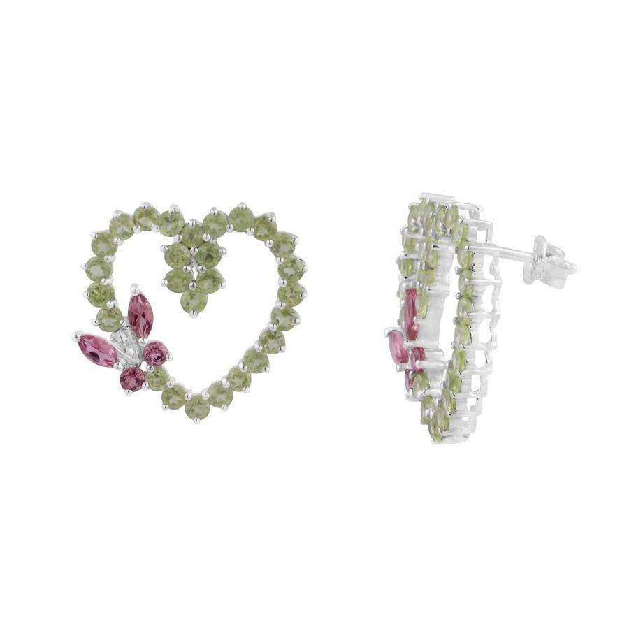 Heart Shaped Two color Gemstone Earrings