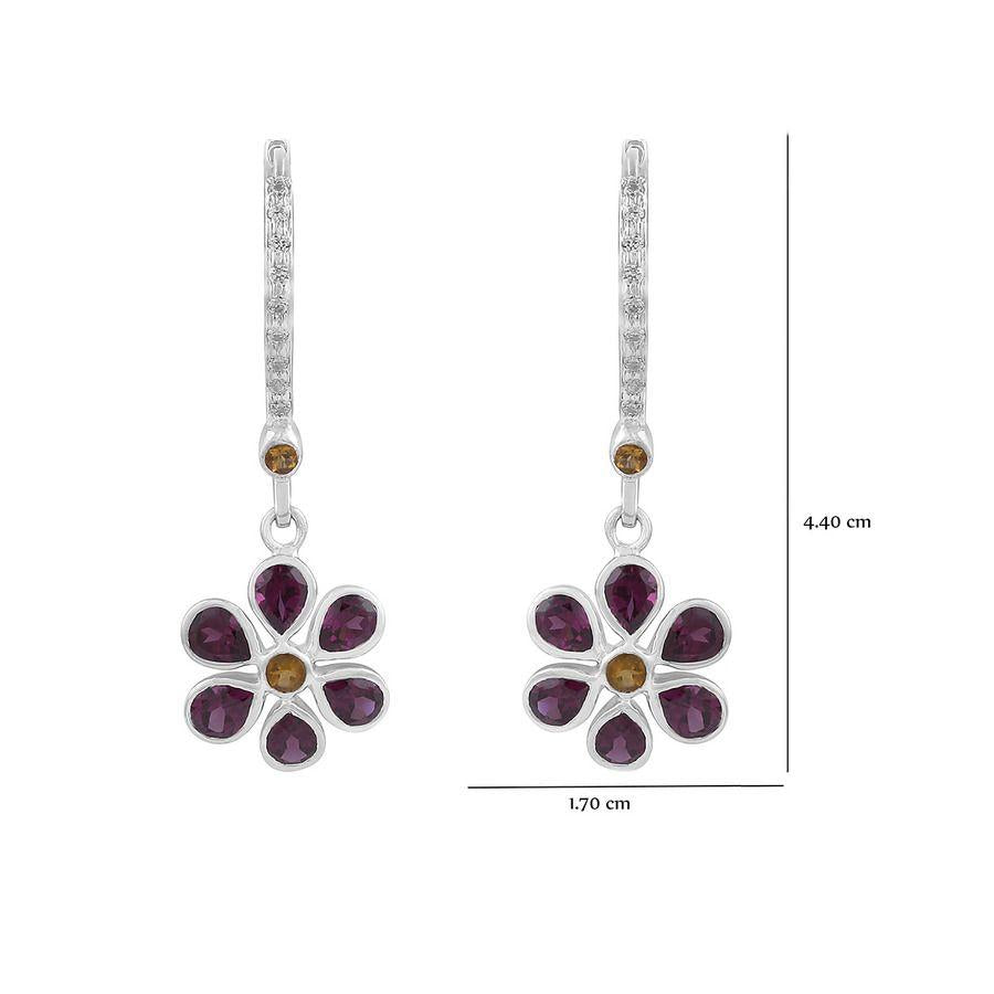 Multi Gemstone 925Silver Floral Earrings
