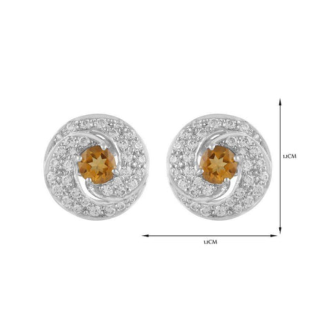 Image of Round shaped Citrine Gem 925 Silver Stud