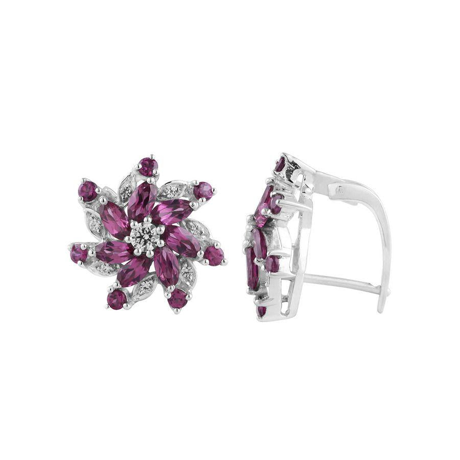 Rhodolite Gemstone Clip-on Silver Studs