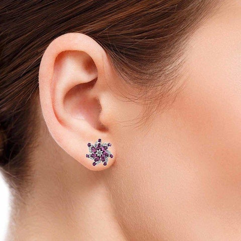 Image of Rhodolite Gemstone Clip-on Silver Studs