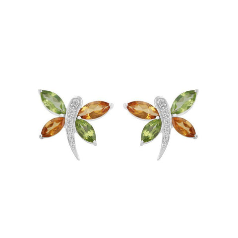 Image of Multi Gemstone 925 Silver Stud Earrings