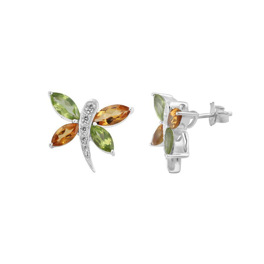 Multi Gemstone 925 Silver Stud Earrings