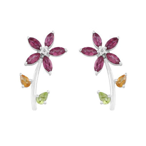 Flower Shaped Multicolor Earrings