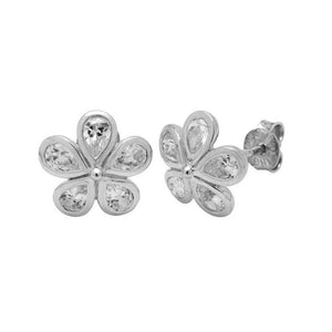 Floral Studs with White Topaz Gemstone