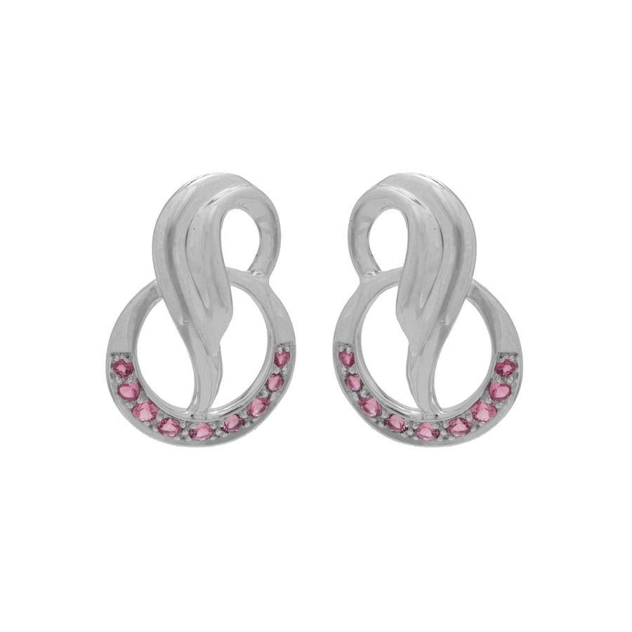 925 Silver Pink Tourmaline Earrings