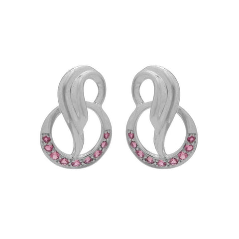 Image of 925 Silver Pink Tourmaline Earrings