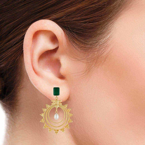 Image of Indowestern Silver Earring in Onyx & Pearl