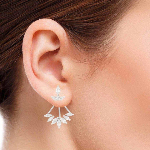 White Topaz studded Silver Earrings