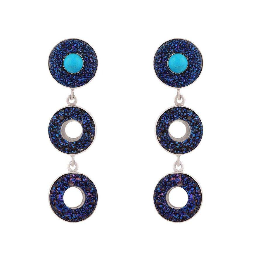 Cobalt Blue Druzy & Turquoise Silver Earrings