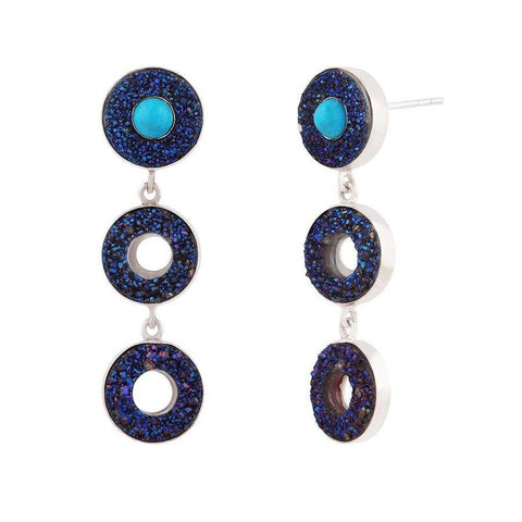 Image of Cobalt Blue Druzy & Turquoise Silver Earrings