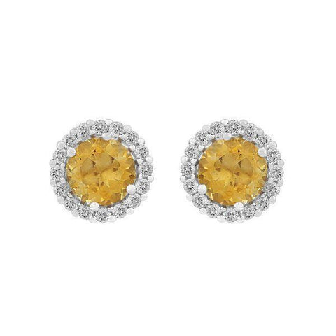 Image of Citrine & Topaz studded Silver Earrings