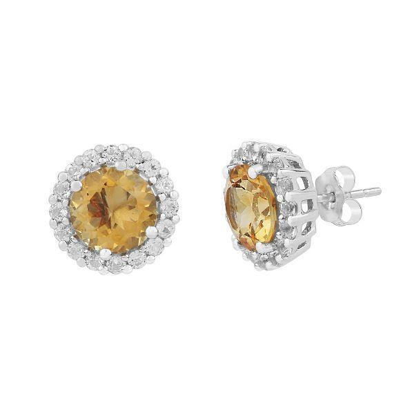 Citrine & Topaz studded Silver Earrings
