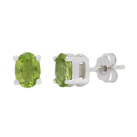 Peridot studded Silver Solitaire Earrings
