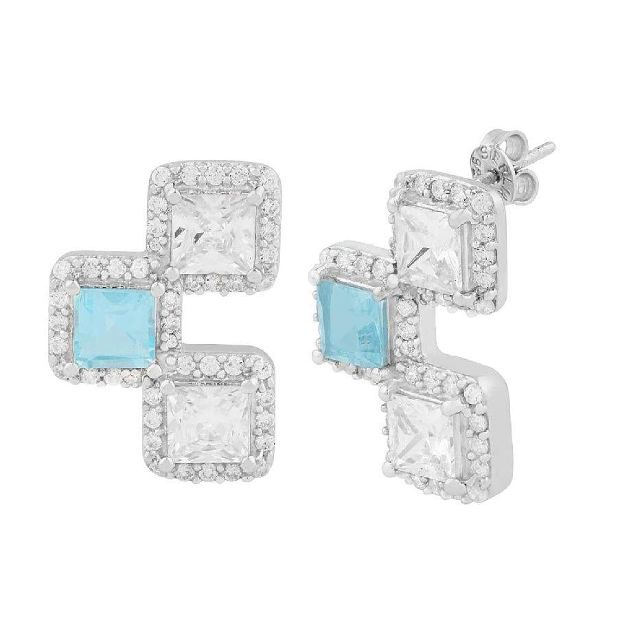 Blue Topaz studded 925 Silver Earrings