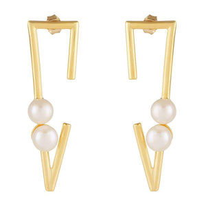 Trendy Pearl Earrings in 925 Silver with Gold Plating