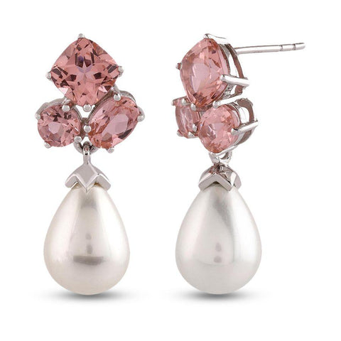 Image of Traditional Earrings with Pearl in 925 Silver