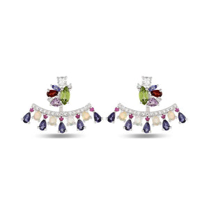 Designer Silver Stud Jacket Earrings in natural gemstones