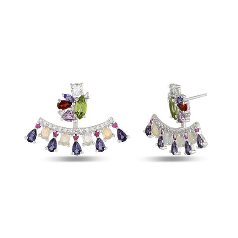 Image of Designer Silver Stud Jacket Earrings in natural gemstones