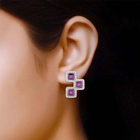 Image of Zirconia studded Silver Earring for Girls