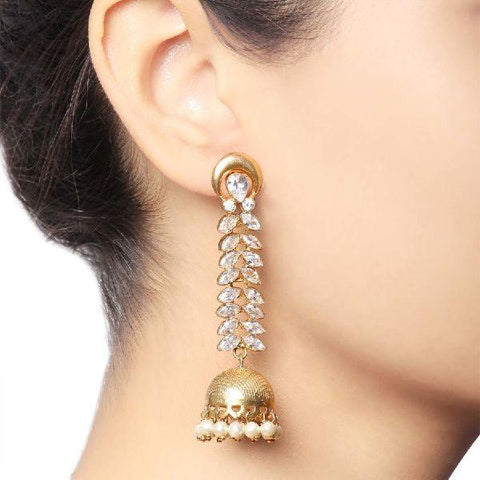 Image of Baroque Traditional Leaf Jhumka Earrings