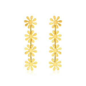 Gold Flower Hanging Earrings