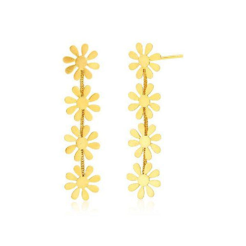 Image of Gold Flower Hanging Earrings