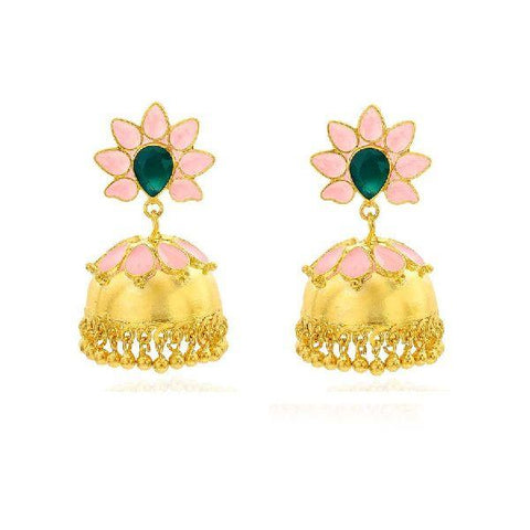 Pink Enamel Flower Earrings