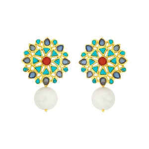 Turquoise Pearl Stud Earrings