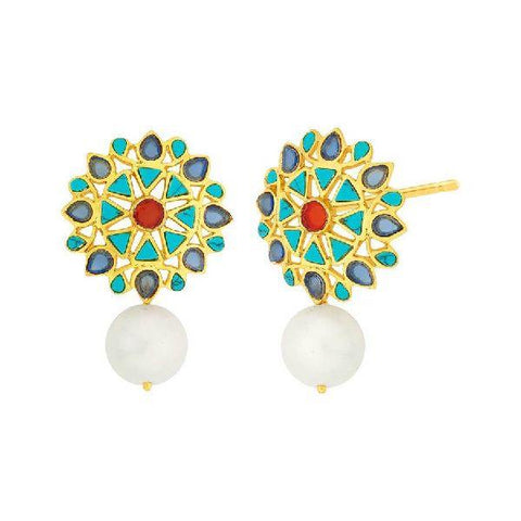 Image of Turquoise Pearl Stud Earrings