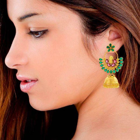 Green Chandbali Jhumka Earrings