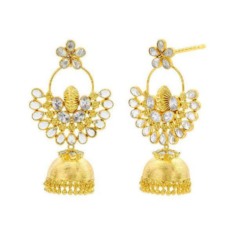 Image of Crystal Chandbali Jhumka Earrings