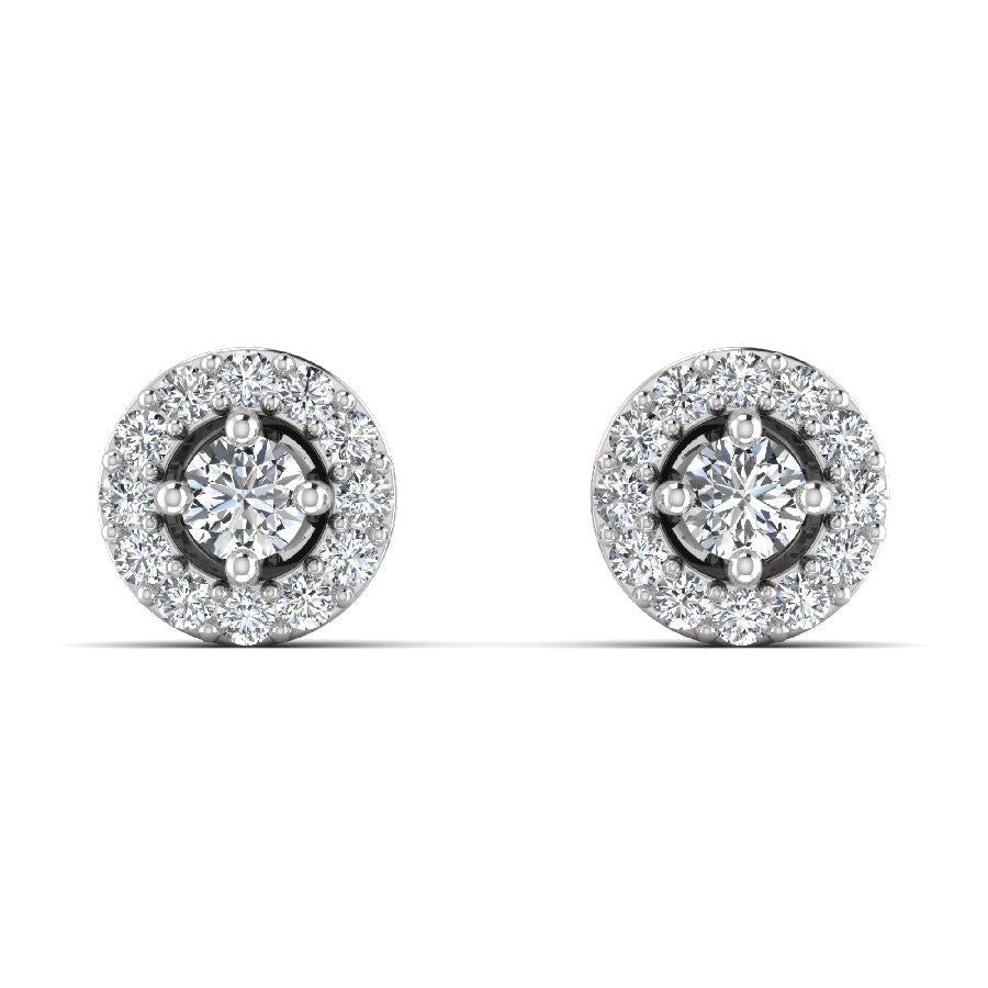14K White Gold Embellished Earrings with Diamond