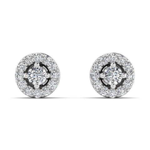 Image of 14K White Gold Embellished Earrings with Diamond