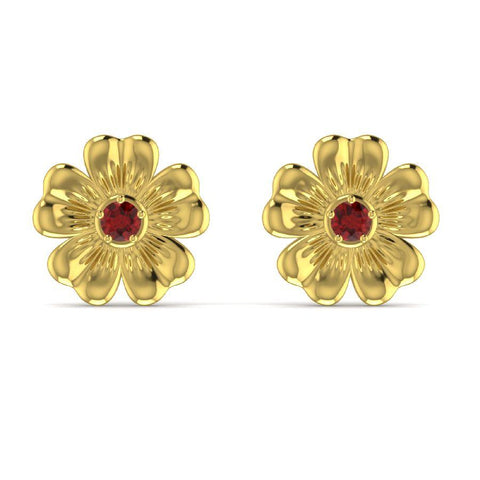14K Yellow Gold Flower Earrings with Red Garnet