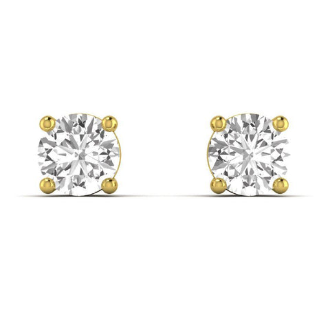 14K Yellow Gold Single Stud Earrings with Diamond